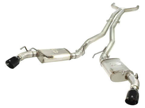 aFe MACHForce XP Exhaust 3in Stainless Steel CB/10-13 Camaro V8-6.2L (td) (gloss blk tip) 49-44039-B