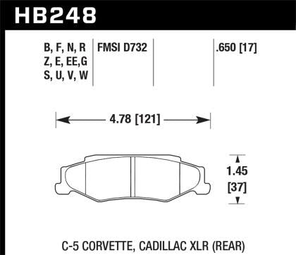 Hawk 97-12 Corvette/01-04 Z06/05-09 Z51 Blue 9012 Race Rear Brake Pads HB248E.650