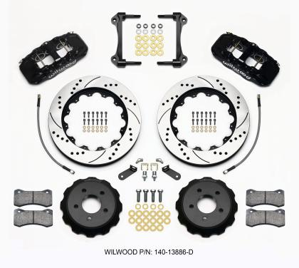 Wilwood AERO6 Front Hat Kit 14.00 Drilled 2015-Up Mustang w/Lines 140-13886-D