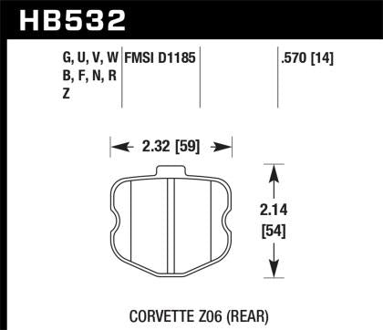 Hawk 06-10 Chevy Corvette (OEM Pad Design) Rear Performance Ceramic Sreet Brake Pads HB532Z.570