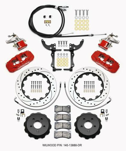 Wilwood AERO4 / MC4 Rear Kit 14.00 Drilled Red 2015-Up Mustang w/Lines & Cables 140-13888-DR
