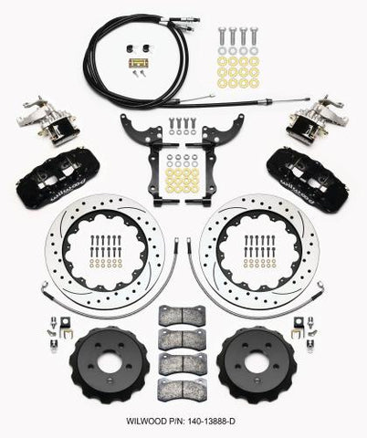 Wilwood AERO4 / MC4 Rear Kit 14.00 Drilled 2015-Up Mustang w/Lines & Cables 140-13888-D