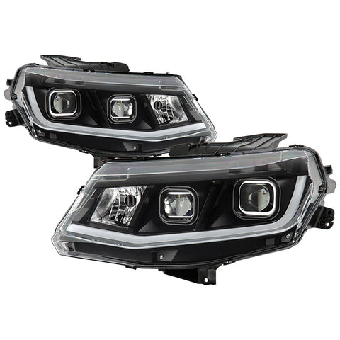 Spyder 2016-18 Chevrolet Camaro Halogen Only Proj Headlights w/ DRL Tube - Black