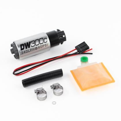 DeatschWerks 340lph DW300C Compact Fuel Pump w/ Universal Install Kit (w/ Mounting Clips)