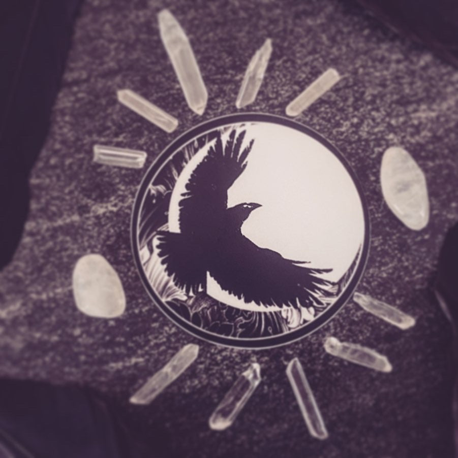 The Raven in Flight Circle Sticker