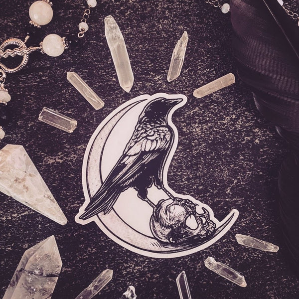 Crow & Skull Moon Sticker