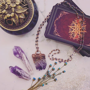 "Electroformed ""Witch hand"" amethyst slice pendant necklaces"