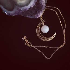 Crescent Gemstone Necklace
