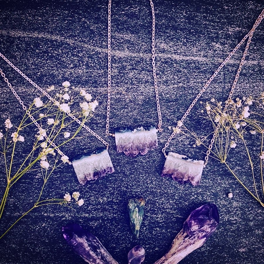 """Witch hand"" amethyst slice pendant necklaces"