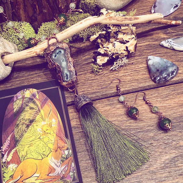 Forest Witch: Moss Agate & Chrysophase Electroformed Necklace and Earrings (set)