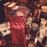 Velvet lined travel pouch for tarot cards or accessories