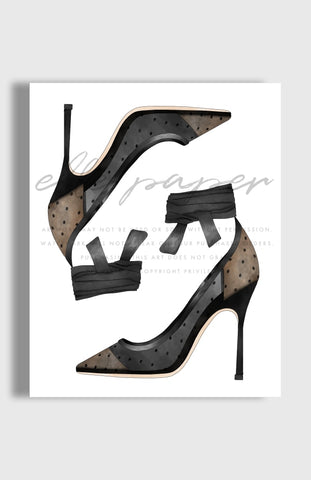 Dotted Heels Art Print by Elle Paper