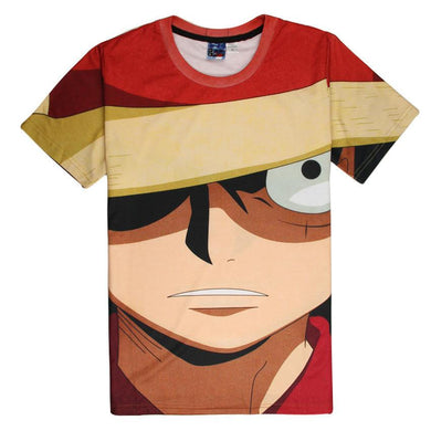 One Piece Luffy Short Sleeve 3D Printed Sportswear T-Shirt