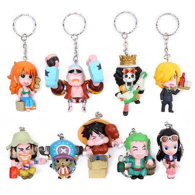 One Piece Anime PVC Key Chains 9 Piece Set
