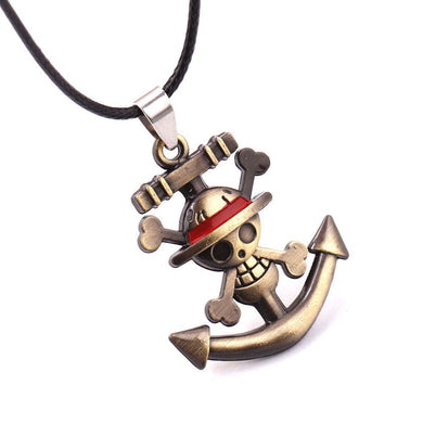 One Piece Luffy Skull Anchor Metal Anime Necklace