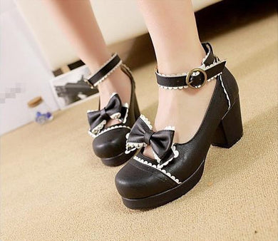 Japanese Fashion Cute Kawaii Anime Cosplay Shoes White/Black