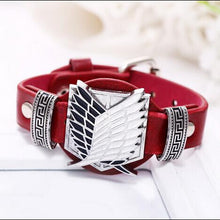 Load image into Gallery viewer, Attack On Titan Leather Punk Bracelet Black/Red