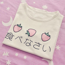 Load image into Gallery viewer, Japanese Delicious Eggs & Strawberry Kawaii T-Shirts