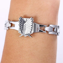 Load image into Gallery viewer, Attack On Titan Silver Metal Anime Bracelet