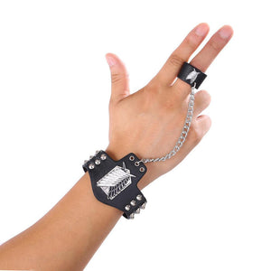 Attack On Titan Punk Rock Style Leather Bracelet