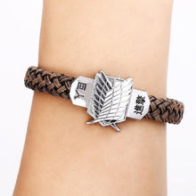 Load image into Gallery viewer, Attack On Titan Alloy Bracelet Weave Leather Bracelet