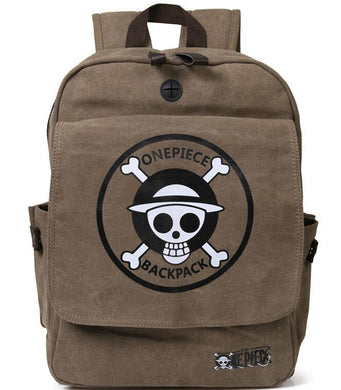 One Piece Luffy Skull Brown Computer Backpack