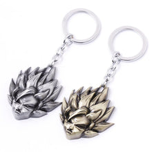 Load image into Gallery viewer, Dragonball Z Super Saiyan Goku Metal Key Chain Gold & Silver
