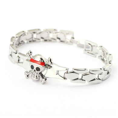 One Piece Luffy Bangle Silver Metal Anime Bracelet