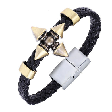 Naruto Ninja Star Alloy Bracelet Weave Leather Bracelet