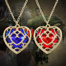 Load image into Gallery viewer, Zelda Heart Shaped Crystal Necklace Blue/Red