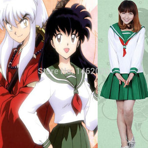 Anime Inuyasha Higurashi Kagome Cosplay Costume School Uniform