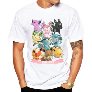 Pokemon Eeveelutions Harajuku Anime T-Shirt