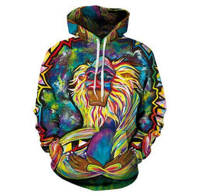 Wild Wildlife Colorful 3D Fashion Wolf Print Hoodie