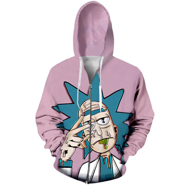 Rick And Morty Faded Trippy Anime Hoodie