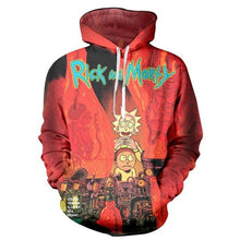 Load image into Gallery viewer, Rick And Morty Red Flames Funny Streetwear Hoodie