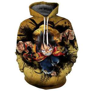 One Piece Luffy Sweatshirt Pullover Jacket Anime Hoodie