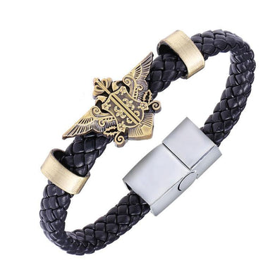 Black Butler Alloy Bracelet Weave Leather Bracelet