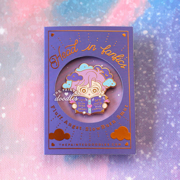 Head in Fanfics Enamel Pin: Time Travel