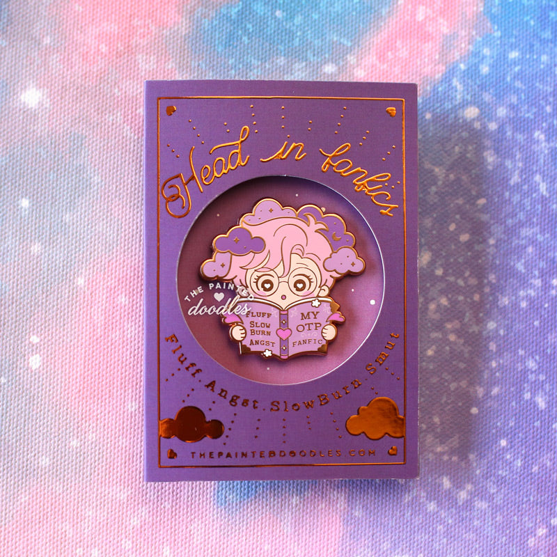 Head in Fanfics Enamel Pin: Coffee Shop