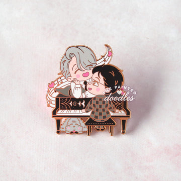 Play for me (black and white) Enamel Pin