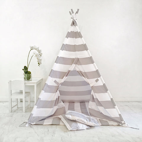 Kids Play Tent Handmade in Grey and White Stripe Cotton