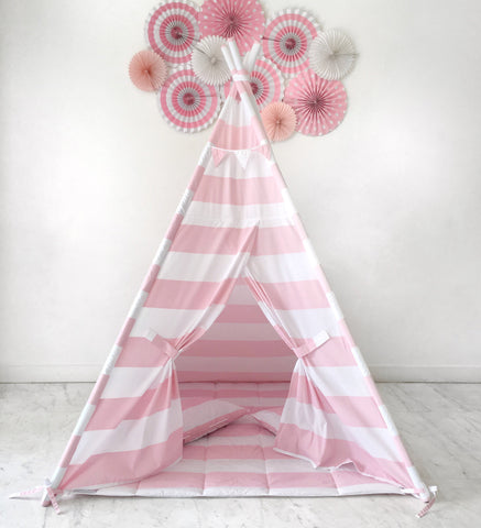 Kids Play Tent Handmade in Pink and White Stripe Cotton Fabric