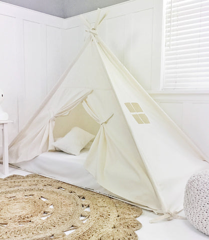 Play Tent Canopy Bed in Natural Canvas with Doors + Pom Pom trim
