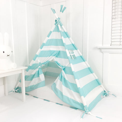 Play Tent Canopy Bed in Aqua/Turquoise and White Stripe WITH DOORS