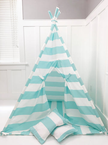 Kids Play Tent Handmade in Turquoise and White Stripe Cotton Fabric