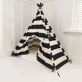 Play Tent Canopy Bed in Natural Canvas and Black Stripe WITH DOORS