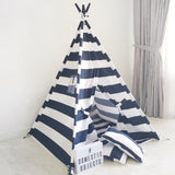 Kids Play Tent Handmade in Navy Blue and White Stripe Cotton