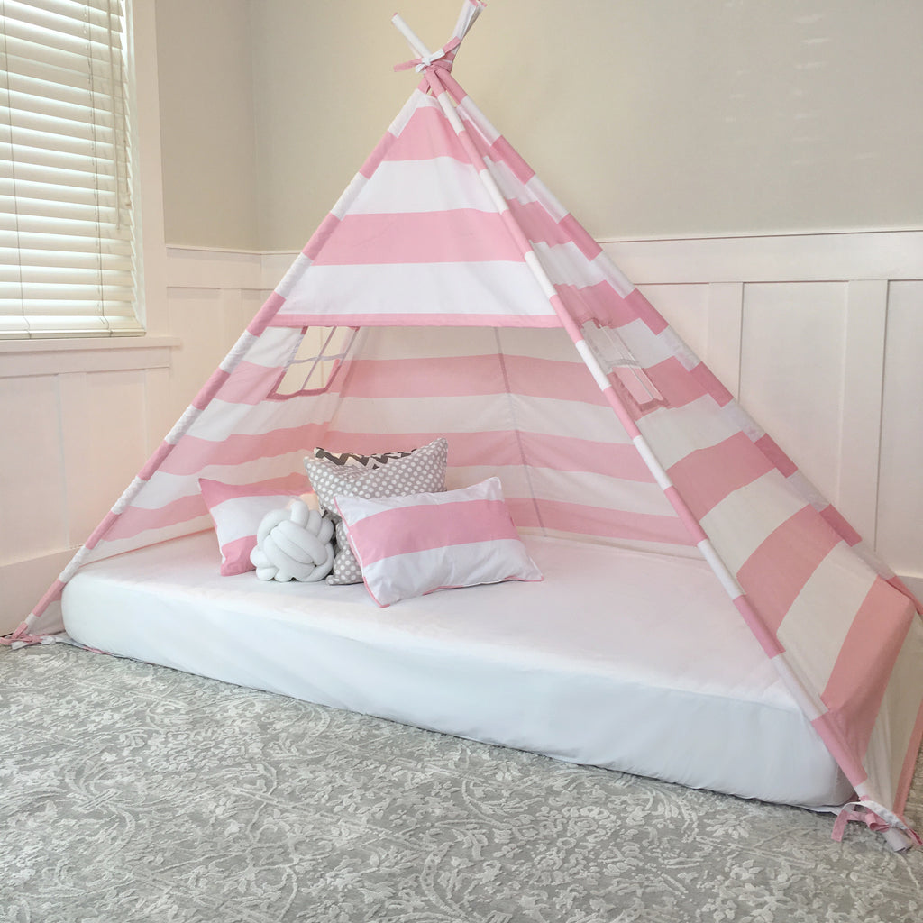 timeless design b3f01 cbd82 Play Tent Canopy Bed in Pink and White Stripe