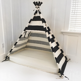 Play Tent Canopy Bed in Natural Canvas and Black Stripe