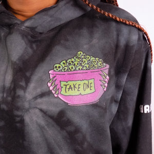 'Take One' Oversized Black Tie-Dye Hoodie